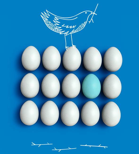Booster Bird and Eggs - Blue