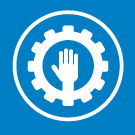 White hand within gear icon