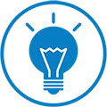 Blue light bulb icon